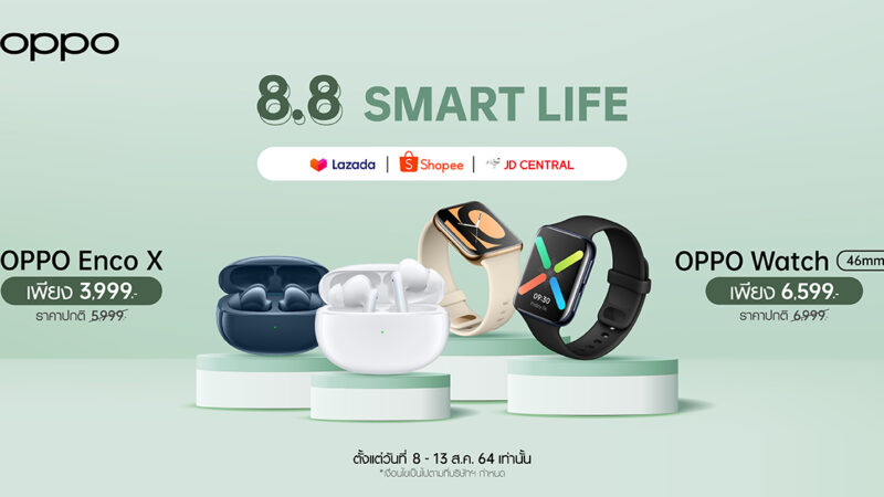 OPPO เอาใจขาช้อป! เปิดแคมเปญ 8.8 OPPO Smart Life มอบส่วนลดอุปกรณ์เสริมสูงสุด 2,000 บาท! ตั้งแต่วันที่ 8-13 สิงหาคมนี้ ที่ช่องทางออนไลน์เท่านั้น